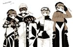 4boys adjusting_goggles anzu_(o6v6o) arm_around_shoulder beanie character_name coat fur-trimmed_coat fur_trim genderswap genderswap_(ftm) gloves goggles goggles_on_headwear greyscale grin gumiya hand_in_pocket hat hatsune_mikuo kagamine_len kagamine_rinto leaning_on_object looking_at_another male_focus monochrome multiple_boys pants plaid_coat ski_goggles smile snowboard striped sweatdrop translation_request v-shaped_eyebrows vocaloid winter_clothes