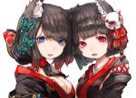 2girls animal_ears azur_lane bangs bell black_hair black_kimono blue_eyes blunt_bangs breasts butterfly_hair_ornament cat_ears cat_mask fang fox_mask fusou_(azur_lane) hair_ornament japanese_clothes jingle_bell kimono mask mask_on_head multiple_girls nyucha red_eyes sideboob tail tail_bell yamashiro_(azur_lane)
