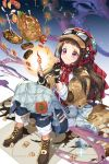 1girl bangs black_gloves black_hair blue_pants blunt_bangs blush boots brown_footwear brown_jacket closed_mouth commentary crying empew english_commentary fingerless_gloves fire food fork frown fruit furrowed_eyebrows glint gloves goggles goggles_on_head hat jacket knees_up lemon lemon_slice long_hair matchstick pants plaid plaid_scarf red_hat red_scarf sanpaku scarf sidelocks sitting soccer_spirits solo steak sweater tareme tears torn_clothes torn_pants turkey violet_eyes