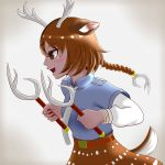 animal_ears antler_sai antlers axis_deer_(kemono_friends) bracelet braid brown_eyes brown_hair commentary_request dark_skin deer_antlers deer_ears deer_print deer_tail gloves hair_ornament highres jewelry kemono_friends long_hair open_mouth sai_(weapon) shirt short_hair skirt smile spotted_hair tail u-densha weapon