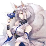 1girl animal_ears azur_lane bangs blue_eyes blunt_bangs eyeliner eyeshadow fox_ears fox_girl fox_mask fox_tail highres holding holding_mask japanese_clothes kaga_(azur_lane) kaga_(battleship)_(azur_lane) kimono kitsune kyogoku-uru makeup mask multiple_tails short_hair solo tail white_hair white_kimono