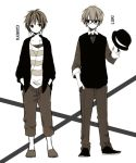 2boys anzu_(o6v6o) capri_pants collarbone collared_shirt full_body genderswap genderswap_(ftm) glasses greyscale gumiya hand_in_pocket hat hat_removed headphones headwear_removed holding holding_hat jacket long_sleeves male_focus megurine_luki monochrome multiple_boys pants shirt shoes sideways_glance standing striped striped_shirt vest vocaloid