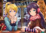 2girls aqua_eyes arm_warmers artist_name ayase_eli bag beige_scarf blonde_hair blue_bow blue_eyes blue_shirt blush bow brown_capelet cafe capelet chair christmas christmas_lights christmas_tree closed_mouth commentary_request cup dated earmuffs elbows_on_table eyebrows_visible_through_hair fur-trimmed_capelet fur-trimmed_sleeves fur_trim gift_bag hair_between_eyes hair_bow hair_down highres holding holding_cup indoors long_hair long_sleeves looking_at_viewer love_live! love_live!_school_idol_project menu mug multiple_girls night pink_scarf plate ponytail pov_across_table print_scarf purple_hair saucer scarf shamakho shirt shopping_bag sidelocks signature smile spoon star star_print striped striped_bow toujou_nozomi window winter_clothes