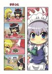 4girls 4koma apron blonde_hair blue_eyes bow braid closed_eyes colonel_aki comic detached_sleeves hair_bow hairband hakurei_reimu hand_up izayoi_sakuya japanese_clothes kirisame_marisa konpaku_youmu konpaku_youmu_(ghost) leaf long_sleeves lunchbox maid maid_apron maid_headdress multiple_girls nontraditional_miko open_mouth pan plate rock seiza silver_hair sitting skirt smile touhou translation_request tree twin_braids wide_sleeves younger