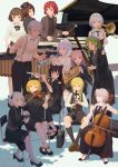 1boy 6+girls absurdres alternate_costume alternate_hairstyle bassoon black_dress black_footwear black_legwear black_neckwear black_pants black_shirt black_skirt blonde_hair blue_eyes blue_neckwear bow bow_(instrument) bowtie braid brown_eyes brown_footwear brown_hair capelet cello chair check_instrument chinese_commentary clarinet cleavage_cutout closed_mouth commentary_request contemporary crescent crossed_ankles detached_sleeves dress dress_shirt drum drum_set drumsticks flower flute french_horn from_above glasses green_eyes green_footwear green_hair hair_bow hair_flower hair_ornament hair_tubes hairband hakurei_reimu hat high_heels highres holding holding_instrument horikawa_raiko instrument instrument_request izayoi_sakuya jq kirisame_marisa kneehighs kochiya_sanae konpaku_youmu lavender_hair leaning_forward long_hair long_skirt long_sleeves looking_at_another looking_at_viewer looking_away looking_back low_twintails lunasa_prismriver lyrica_prismriver mallet_(instrument) marimba merlin_prismriver miniskirt mixed-language_commentary morichika_rinnosuke multiple_girls music neck_ribbon necktie on_chair open_mouth pants piano playing_instrument purple_hair red_eyes red_footwear redhead reisen_udongein_inaba ribbon sheet_music shirt shoes short_hair shorts side_braid silver_hair sitting skirt sleeveless sleeveless_dress smile standing star_hat_ornament suspenders touhou triangle_(instrument) trombone trumpet tsukumo_benben tsukumo_yatsuhashi twin_braids twintails vest violet_eyes violin white_shirt wide_sleeves yellow_eyes