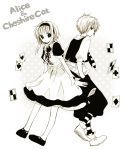1boy 1girl ace_of_clubs ace_of_diamonds ace_of_hearts ace_of_spades ahoge alice_(wonderland) alice_(wonderland)_(cosplay) alice_in_wonderland animal_ears anzu_(o6v6o) apron back-to-back card cat_ears cheshire_cat cheshire_cat_(cosplay) cosplay cross-laced_clothes dress dual_persona full_body genderswap genderswap_(ftm) gumi gumiya hairband hands_in_pockets kemonomimi_mode looking_at_viewer neck_ribbon necktie playing_card ribbon shoes short_hair_with_long_locks short_sleeves striped striped_legwear vest vocaloid wrist_cuffs