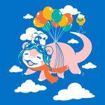 alternate_color balloon blue_sky clouds cloudy_sky creatures_(company) cuhelski day drifloon floating game_freak gen_1_pokemon gen_3_pokemon gen_4_pokemon nintendo no_humans outdoors pokemon pokemon_(creature) scarf shiny_pokemon sky slowpoke swablu