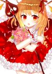 1girl :o bangs blonde_hair bouquet cowboy_shot crossed_arms daisy embellished_costume eyebrows_visible_through_hair flandre_scarlet flower frilled_skirt frills hair_ribbon holding holding_bouquet holding_sword holding_weapon laevatein looking_at_viewer no_hat no_headwear petals puffy_short_sleeves puffy_sleeves red_eyes red_skirt red_vest ribbon sakipsakip shiny shiny_hair short_hair short_sleeves side_ponytail simple_background skirt skirt_set solo sword touhou vest weapon white_background wings wrist_cuffs