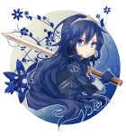 1girl blue_eyes blue_flower blue_gloves blue_hair crown eyebrows_visible_through_hair fingerless_gloves fire_emblem fire_emblem:_kakusei floating_hair flower from_side gloves hair_between_eyes highres holding holding_sword holding_weapon long_hair looking_at_viewer lucina nintendo simple_background solo sword upper_body uranaishi_(miraura) very_long_hair weapon white_background