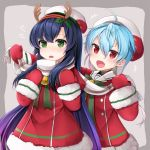 2girls absurdres antlers black_hair blue_hair cowboy_shot dress fang flying_sweatdrops fur-trimmed_dress fur_trim gradient_hair green_eyes grey_background highres kantai_collection lavender_hair long_hair matsuwa_(kantai_collection) mittens multicolored_hair multiple_girls open_mouth plaid plaid_scarf red_dress red_eyes red_mittens reindeer_antlers sado_(kantai_collection) sailor_collar scarf white_sailor_collar white_scarf yunamaro
