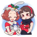 2girls alternate_costume brown_eyes brown_hair choker curly_hair do_m_kaeru doll feathers gloves hairband hat jack_frost mistletoe multiple_girls niijima_makoto okumura_haru persona persona_5 plaid red_eyes red_gloves ribbon scarf short_hair white_gloves