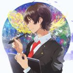 1boy aoi_yuito black_jacket blazer brown_eyes brown_hair fish fly_(marguerite) hair_between_eyes irozuku_sekai_no_ashita_kara jacket long_sleeves looking_to_the_side male_focus necktie red_neckwear school_uniform solo stylus tablet_pc upper_body