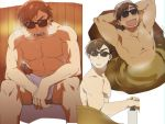 1boy arms_behind_head brown_hair eyebrows_visible_through_hair male_focus naked_towel onsen open_mouth partially_submerged sauna simple_background sitting smile soap_bottle st05254 steam sunglasses sweat tatsumi_koutarou towel towel_on_head white_background zombie_land_saga