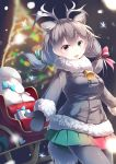 1girl :d absurdres animal_ear_fluff animal_ears antlers bell blurry blurry_background box christmas christmas_tree coat commentary eyebrows_visible_through_hair fur_collar gift gift_box green_eyes grey_hair hair_between_eyes hair_ribbon heterochromia highres kanzakietc kemono_friends long_hair looking_at_viewer mittens multicolored multicolored_clothes multicolored_skirt open_mouth pleated_skirt red_eyes reindeer_(kemono_friends) reindeer_antlers reindeer_ears ribbon sack skirt sled smile solo winter_clothes winter_coat
