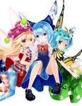 3girls absurdres american_flag_dress american_flag_legwear antennae bare_legs black_footwear blonde_hair blue_dress blue_eyes blue_hair bow brown_eyes butterfly_wings cirno clownpiece commentary_request dress eternity_larva fairy_wings green_dress hat highres ice ice_wings jester_cap leaf leaf_on_head long_hair looking_at_viewer multiple_girls neck_ruff number open_mouth pantyhose polka_dot puffy_short_sleeves puffy_sleeves shoes short_hair short_sleeves sitting smile touhou very_long_hair wings zhu_xiang