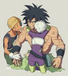 1girl 2boys armor arms_around_neck arms_at_sides black_eyes black_hair broken_armor broly_(dragon_ball_super) cheelai dirty dirty_clothes dirty_face dragon_ball dragon_ball_super dragon_ball_super_broly expressionless facing_away fanny_pack fingernails gloves grey_background hand_on_another's_arm hat height_difference highres lemo_(dragon_ball) light_smile looking_at_another looking_away multiple_boys muscle nipples open_mouth scar scouter shaded_face shirtless short_hair simple_background smile spiky_hair tama_azusa_hatsu torn_clothes twitter_username upper_body white_gloves white_hair wristband