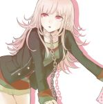 1girl alternate_costume alternate_hairstyle bent_over black_jacket breasts chain chained chains collar collarbone commentary_request danganronpa dress eyebrows_visible_through_hair flipped_hair hair_ornament hairclip jacket komaeda_nagito long_hair looking_to_the_side multicolored multicolored_clothes multicolored_dress nanami_chiaki open_clothes open_eyes open_jacket open_mouth pink_eyes pink_hair shadow simple_background small_breasts solo super_danganronpa_2 white_background xsinon