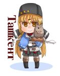 1girl animal asymmetrical_gloves bangs bird black_footwear black_gloves black_hat black_skirt blonde_hair blue_capelet blush boots brown_eyes brown_gloves brown_legwear capelet character_name chibi closed_mouth commentary_request cyrillic elbow_gloves eyebrows_visible_through_hair fingerless_gloves full_body gloves gurageida hair_between_eyes hair_ornament hairclip hat highres jacket kantai_collection knee_boots long_hair low_twintails mismatched_gloves owl pantyhose pleated_skirt ribbon-trimmed_capelet ribbon_trim shadow single_elbow_glove skirt smile solo standing star tashkent_(kantai_collection) twintails very_long_hair white_background white_jacket