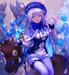 1girl :d animal bangs bauble blue blue_cape blue_eyes blue_hat blue_ribbon blue_scarf braid breasts cape christmas commentary_request cup dress drinking_glass earrings eyebrows_visible_through_hair feet_out_of_frame fur-trimmed_cape fur_trim gift hat highres holding holding_cup jewelry lee_hyeseung long_hair medium_breasts open_mouth original pantyhose reindeer ribbon scarf silver_hair sitting smile solo tareme taut_clothes tropical_drink white_dress white_legwear wine_glass