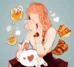 1girl aqua_background artist_name black_skirt braid brown_hair closed_eyes cowboy_shot croissant cup drink drinking food heart klasse14 liquid long_hair long_sleeves original pouring rabbit ribbed_sweater signature simple_background sitting skirt spots steam sweater teapot tofuvi watch watch