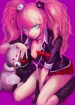 1girl absurdres bare_legs bear bear_hair_ornament blonde_hair blue_eyes boots bow breasts cleavage closed_mouth commentary_request danganronpa danganronpa_1 dot_eyes enoshima_junko evil_grin evil_smile eyebrows_visible_through_hair fingernails grin hair_ornament hand_on_ground hand_on_head heterochromia highres kneeling large_breasts laughing long_hair looking_at_viewer miniskirt monokuma nail_polish necktie open_eyes pink_background red_eyes red_nails red_ribbon red_skirt ribbon school_uniform short_sleeves simple_background skirt smile stdl twintails