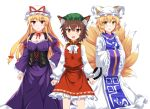 3girls :d animal_ear_fluff animal_ears bangs blonde_hair bow bowtie breasts brown_eyes brown_hair cat_ears cat_tail chen choker cleavage collarbone commentary_request corset dress e.o. eyebrows_visible_through_hair feet_out_of_frame fox_tail frilled_shirt_collar frilled_sleeves frills green_hat hair_between_eyes hair_bow hand_on_hip hat hat_ribbon highres juliet_sleeves large_breasts long_hair long_sleeves looking_at_viewer multiple_girls multiple_tails nekomata open_mouth petticoat pillow_hat puffy_sleeves red_bow red_choker red_eyes red_ribbon red_skirt red_vest ribbon ribbon_choker shirt sidelocks simple_background skirt skirt_set smile standing tabard tail touhou two_tails very_long_hair vest white_background white_bow white_dress white_hat white_neckwear white_shirt wide_sleeves yakumo_ran yakumo_yukari yellow_eyes