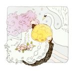 1girl artist_name bangs bird border crater dress feet_out_of_frame flower leaf long_hair moon object_hug original pink_flower pink_petals profile purple_hair signature sparkle swan tofuvi white_bird white_border yellow_moon