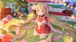 1girl :o azur_lane bell belt belt_buckle blonde_hair boots box buckle capelet christmas christmas_ornaments christmas_tree commentary_request copyright_name eldridge_(azur_lane) fur-trimmed_capelet fur-trimmed_gloves fur-trimmed_skirt fur_trim gift gift_box gloves green_belt hair_ornament heart heart-shaped_pupils highres indoors long_hair looking_at_viewer maya_g parted_lips red_capelet red_eyes red_footwear red_gloves red_skirt signature sitting skirt solo symbol-shaped_pupils twintails very_long_hair wariza