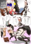 1boy 1girl 3koma ? aardwolf aardwolf_(kemono_friends) aardwolf_ears aardwolf_print aardwolf_tail all_fours animal_ears animal_print arched_back ass bangs bare_shoulders black_hair blush book book_stand breast_pocket closed_eyes comic commentary door elbow_gloves extra_ears eyebrows_visible_through_hair gloom_(expression) gloves hair_between_eyes hakumaiya high_ponytail highres hood hood_down hoodie indoors kemono_friends long_hair long_sleeves looking_at_another multicolored_hair necktie no_shoes nose_blush open_mouth pants pocket ponytail pose print_gloves print_legwear print_shirt reading seiza shirt shorts sidelocks silver_hair sitting sleeveless sleeveless_shirt smile solo_focus spoken_question_mark standing surprised tail tearing_up translation_request two-tone_hair v-shaped_eyebrows vacuum_cleaner