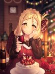 1girl black_shirt blonde_hair blush bottle braid cake candle candlelight chair chin_rest christmas christmas_tree clock commentary_request cross cross_necklace crown_braid cup drinking_glass flower food fur_trim hair_ribbon hair_rings highres holding holding_cup indoors jewelry kyouou_ena long_hair long_sleeves looking_at_viewer love_live! love_live!_school_idol_festival love_live!_sunshine!! merry_christmas necklace ohara_mari plaid plaid_ribbon pov_across_table red_flower red_rose ribbon rose shirt sitting smile solo sparkle wall_clock wine_bottle wine_glass