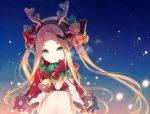 1girl abigail_williams_(fate/grand_order) alternate_costume alternate_hairstyle animal_ears antlers aqua_eyes arms_at_sides bangs bear_hair_ornament bell blonde_hair blue_sky bow breasts breath capelet christmas closed_mouth commentary_request expressionless fake_animal_ears fate/grand_order fate_(series) forehead fur-trimmed_capelet fur_trim gradient_sky green_bow hair_bow hair_ornament hairband head_tilt light_particles long_hair looking_at_viewer miwabe_sakura navel parted_bangs red_bikini_top red_bow red_capelet reindeer_antlers santa_costume sidelocks sky small_breasts solo twintails upper_body