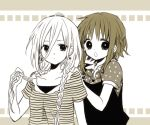 2girls :o anzu_(o6v6o) bangs braid collarbone collared_shirt earrings expressionless gumi hair_between_eyes hands_on_another's_shoulders holding holding_hair ia_(vocaloid) jewelry long_hair looking_at_viewer monochrome multiple_girls polka_dot polka_dot_shirt sepia shirt short_hair_with_long_locks short_sleeves side_braid striped striped_shirt twin_braids upper_body vocaloid