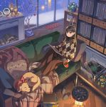 1girl animal bangs bf._(sogogiching) black_hair black_legwear blanket book_stack brown_eyes brown_skirt christmas christmas_ornaments commentary_request couch cup cushion dog heater holding holding_cup indoors lamp listening_to_music log long_hair night no_shoes original phonograph plaid plaid_shirt plant plate potted_plant record record_jacket red_bandana rug shelf shirt sitting skirt slippers_removed smile snowing solo tree turntable window