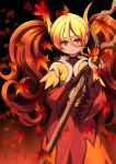 1girl absurdres autumn_leaves bell black_background blonde_hair borokuro brown_gloves brown_hair creatures_(company) delphox dress falling_leaves flame_print game_freak gen_6_pokemon gloves hair_between_eyes highres holding holding_staff leaf long_hair long_sleeves looking_at_viewer nintendo personification pokemon red_dress red_eyes solo staff standing twintails very_long_hair