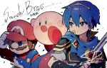 angry blue_eyes blue_hair brown_hair cape facial_hair falchion_(fire_emblem) fire_emblem fire_emblem:_monshou_no_nazo gloves hat highres jewelry kirby kirby_(series) mario mario_(series) marth miyabidotto mustache nintendo open_mouth short_hair super_smash_bros. super_smash_bros._ultimate sword tiara weapon