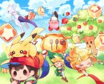 >_< 3boys :d :o apple black_hair block blonde_hair blue_shorts blue_sky blush blush_stickers brown_footwear cauldron chef child clouds creatures_(company) day doseisan fence flower food fruit frying_pan game_freak gen_1_pokemon grass green_hat hat hitofutarai holding holding_sword holding_weapon kirby kirby_(series) leaf link lucas maxim_tomato mewtwo mother_(game) mother_2 mother_3 multiple_boys ness nintendo open_mouth outdoors pantyhose pikachu planted_weapon pokemon pokemon_(creature) red_footwear shirt shorts sky smile snake spatula striped striped_shirt super_smash_bros. sweatdrop sword t-shirt tears the_legend_of_zelda the_legend_of_zelda:_the_wind_waker tomato toon_link tree tree_stump weapon whispy_woods wind