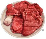 beef commentary_request food meat momiji_mao no_humans original plate raw_meat simple_background white_background