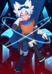 1boy belt binary boots broken_glass chair character_request copyright_request floating glass gloves glowing goggles goggles_on_head highres legs_crossed number orange_shirt scarf shirt short_hair sitting smile solo spiky_hair violet_eyes white_gloves white_hair zuizi