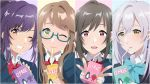 4girls :d blazer blue-framed_eyewear blue_earrings blush brown_eyes brown_hair drink drinking drinking_straw glasses green_eyes irozuku_sekai_no_ashita_kara jacket jewelry kawai_kurumi kazano_asagi long_hair looking_at_viewer medium_hair mole mole_under_mouth multiple_girls open_mouth ponytail purple_hair school_uniform shioiri sidelocks silver_hair simple_background single_earring smile tsukishiro_hitomi tsukishiro_kohaku twintails upper_body yellow_eyes
