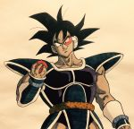 1boy arm_at_side armor black_eyes black_hair dark_skin dragon_ball evil_smile fingernails food fruit highres holding holding_food lee_(dragon_garou) looking_away male_focus muscle scouter shaded_face short_hair simple_background smile spiky_hair tail tullece upper_body wristband