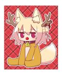 1girl animal_costume animal_ear_fluff animal_ears antlers bangs bell bell_collar blonde_hair blush brown_collar collar commentary_request eyebrows_visible_through_hair fox_ears fox_girl fox_tail full_body hair_between_eyes hair_bun hair_ornament highres jingle_bell kemomimi-chan_(naga_u) long_hair looking_at_viewer naga_u original plaid plaid_background red_background red_nose reindeer_antlers reindeer_costume sitting solo tail violet_eyes
