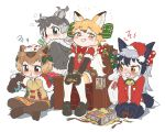 4girls :t =3 alternate_costume angry animal_ears antlers appleq bangs bell belt black_gloves black_hair black_legwear blonde_hair blush bodystocking bow bowtie box brown_eyes brown_footwear brown_hair capelet capybara_(kemono_friends) capybara_ears christmas clenched_teeth closed_mouth commentary_request controller dress extra_ears eyebrows_visible_through_hair ezo_red_fox_(kemono_friends) flipped_hair fox_ears fox_tail full_body fur-trimmed_capelet fur-trimmed_hood fur-trimmed_sleeves fur_collar fur_trim game_controller gift gloves green_eyes grey_hair grin hair_ornament hair_ribbon hair_scrunchie half-closed_eyes hat heterochromia highres holding holding_controller hood hood_down hooded_jacket indian_style jacket joy-con kemono_friends long_hair long_sleeves looking_at_another looking_to_the_side massage_chair multicolored_hair multiple_girls open_gift orange_eyes pantyhose playing_games pout red_eyes red_neckwear reindeer_(kemono_friends) reindeer_antlers reindeer_ears ribbon rolling_sleeves_up sack santa_costume santa_hat scrunchie seiza shoes short_over_long_sleeves short_sleeves shorts sidelocks silver_fox_(kemono_friends) simple_background sitting skirt sleeves_rolled_up smile smug squiggle suspenders sweater sweater_dress tail tearing_up teeth towel towel_on_head twintails two-tone_hair v-shaped_eyebrows white_background
