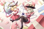 2girls :d alternate_costume bare_shoulders beige_background belt black_belt black_footwear black_hairband black_hat black_legwear blonde_hair boots bow bowtie box breasts capelet collarbone commentary_request crystal dress elbow_gloves fake_antlers fang_out feet_out_of_frame flandre_scarlet gift gift_box gloves gradient gradient_background green_eyes green_hair hair_ribbon hairband hand_up hat hat_bow heart heart_of_string high_heels holding holding_sack komeiji_koishi leg_warmers long_hair looking_at_viewer minust multiple_girls one_side_up open_mouth outstretched_arms pantyhose red_bow red_capelet red_dress red_eyes red_footwear red_gloves red_neckwear red_ribbon ribbon sack santa_costume short_hair small_breasts smile thighs third_eye touhou wings yellow_bow