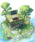 book box cable chair commentary computer cup desk envelope flower folder grass highres keyboard_(computer) leaf mitsuki_(yu_hsiang_yi) monitor mouse_(computer) mug nature no_humans original overgrown pebble pink_flower plant rain ripples ruins scenery spoon stuffed_animal stuffed_cat stuffed_toy stylus tablet_pc trash_can tree water white_flower