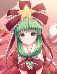 1girl bangs blunt_bangs blush bow box breasts candy candy_cane cleavage commentary_request covered_nipples dress eyebrows_visible_through_hair food frills front_ponytail gift gift_box green_eyes green_hair head_tilt highres kagiyama_hina large_breasts long_hair looking_at_viewer lzh perspective puffy_short_sleeves puffy_sleeves red red_bow red_dress red_ribbon ribbon short_sleeves solo star touhou