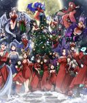 6+girls :d absurdres animal_ears annotation_request baphomet_(monster_girl_encyclopedia) black_hair blue_eyes blue_hair blue_skin borrowed_character box breasts broom broom_riding brown_hair christmas christmas_tree cleavage commentary cyclops dark_skin dellu_(geenymous) demon_girl demon_horns demon_wings dormouse_(monster_girl_encyclopedia) dragon_girl dragon_horns dragon_wings dress english_commentary eyes_visible_through_hair flying full_moon gazer_(monster_girl_encyclopedia) gift gift_box green_eyes hair_over_eyes hair_over_one_eye hat heterochromia highres horns ignitrix jabberwock_(monster_girl_encyclopedia) khornette_quest lamia large_breasts large_mouse_(monster_girl_encyclopedia) lilim_(monster_girl_encyclopedia) long_hair looking_at_another looking_at_viewer looking_away mari_(maritan) miia_(monster_musume) monster_girl monster_girl_encyclopedia monster_musume_no_iru_nichijou moon mouse_ears multiple_girls nanostar nellu_(geenymous) night one-eyed open_mouth original paws pointy_ears ponytail purple_hair red_dress red_eyes redhead runa santa_hat short_hair silver_hair skateboard smile smug snowing twintails vellu_(geenymous) violet_eyes white_hair white_skin wings yellow_eyes
