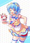 1girl ;d apron bang_dream! bangs blue_hair blue_neckwear bow bowtie character_name cherry commentary_request dress drop_shadow earrings food frilled_apron frilled_sleeves frills fruit hair_bow hand_on_hip highres holding holding_tray ice_cream jewelry kenkou_toshikou looking_at_viewer matsubara_kanon michelle_(bang_dream!) name_tag one_eye_closed open_mouth pom_pom_earrings ponytail shorts shorts_under_skirt sidelocks skindentation smile solo star starry_background sundae thigh-highs tray violet_eyes waist_apron waitress whipped_cream wrist_cuffs yellow_bow yellow_dress
