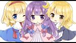 3girls :d :o alice_margatroid apron arms_up bangs black_skirt black_vest blonde_hair blue_dress blue_eyes blush capelet chibi commentary_request crescent crescent_hair_ornament dress eyebrows_visible_through_hair hair_ornament hair_ribbon hairband hand_to_own_mouth hands_together kagome_f kirisame_marisa kneeling letterboxed long_hair long_sleeves looking_at_viewer multiple_girls neck_ribbon no_headwear one_eye_closed open_mouth patchouli_knowledge pink_robe purple_hair red_neckwear ribbon robe sash shiny shiny_hair shirt short_hair short_sleeves simple_background skirt smile striped striped_dress swept_bangs touhou tress_ribbon very_long_hair vest violet_eyes waist_apron white_background white_capelet white_shirt yellow_eyes