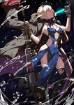 absurdres armpits artoria_pendragon_(all) artoria_pendragon_(swimsuit_rider_alter) bare_shoulders blonde_hair breasts choker cleavage collarbone contrapposto crown dragunov_svd fate/grand_order fate_(series) food gloves glowing gun halterneck highres jeanne_d'arc_(alter_swimsuit_berserker) jeanne_d'arc_(fate)_(all) lips lipstick looking_at_viewer looking_to_the_side makeup medium_breasts navel navel_cutout pale_skin pinky_out popsicle profile rifle skindentation sniper_rifle standing thigh-highs thong trench_coat water weapon wind yellow_eyes