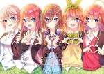 5girls 723/nanahumi :d ;d ahoge bangs blazer blue_cardigan blue_eyes blush bow breasts brown_bow brown_hair brown_jacket cardigan collared_shirt commentary dress_shirt eyebrows_visible_through_hair fingernails go-toubun_no_hanayome green_bow green_hairband green_ribbon green_skirt hair_between_eyes hair_bow hair_ornament hair_ribbon hairband headphones headphones_around_neck heart heart_hands jacket multiple_girls nakano_ichika nakano_itsuki nakano_miku nakano_nino nakano_yotsuba one_eye_closed open_blazer open_clothes open_jacket open_mouth plaid plaid_bow pleated_skirt redhead ribbon school_uniform shirt siblings sisters skirt small_breasts smile star star_hair_ornament sweater_vest symbol_commentary twitter_username watermark white_background white_shirt